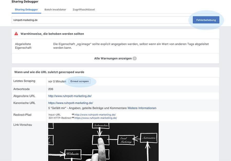 Mit dem FB Debugger neu scrapen und Webinformationen sehen